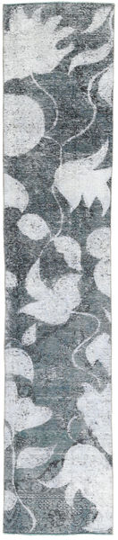 Colored Vintage Teppe 68X363 Ekte Moderne Håndknyttet Teppeløpere Lys Grå/Lys Blå (Ull, Persia/Iran)