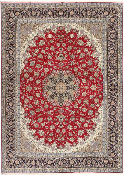 Isfahan Silk Warp Rug 300X417 Authentic  Oriental Handknotted Light Grey/Dark Red Large (Wool/Silk, Persia/Iran)