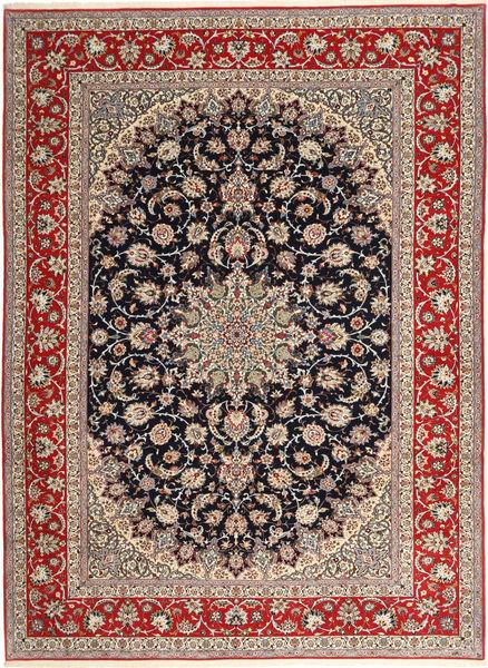 Isfahan Silkkiloimi Matto 265X363 Itämainen Käsinsolmittu Vaaleanruskea/Tummanpunainen Isot (Villa/Silkki, Persia/Iran)