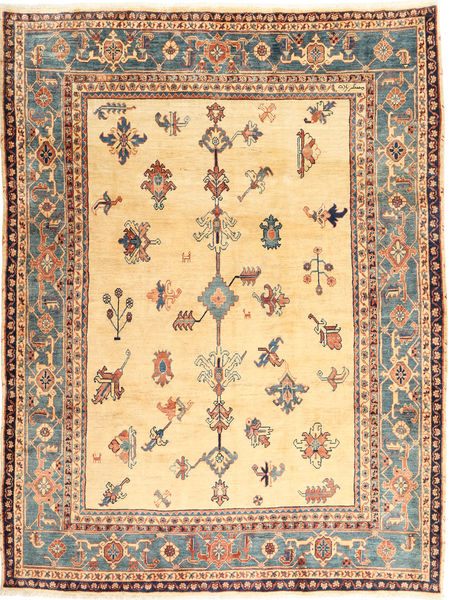 Heriz Rug 218X292 Authentic  Oriental Handknotted Light Pink/Light Brown (Wool, Persia/Iran)