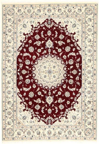 Nain 6La Rug 107X155 Authentic  Oriental Handknotted Beige/Light Grey (Wool/Silk, Persia/Iran)