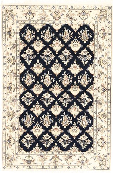 Naïn 6La Tapis 110X167 D'orient Fait Main Beige/Bleu Foncé (Laine/Soie, Perse/Iran)