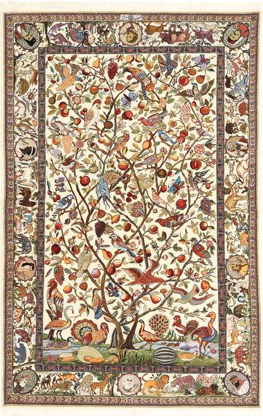 Ilam Sherkat Farsh Di Seta Tappeto 137X210 Orientale Fatto A Mano Marrone Chiaro/Beige (Lana/Seta, Persia/Iran)