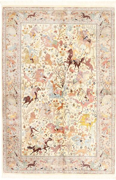 Kom Jedwab Dywan 140X211 Orientalny Tkany Ręcznie Beżowy/Jasnoróżowy (Jedwab, Persja/Iran)