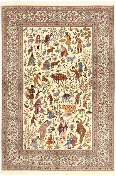 Ilam Sherkat Farsh Silk Rug 150X220 Authentic  Oriental Handknotted Beige/Brown (Wool/Silk, Persia/Iran)