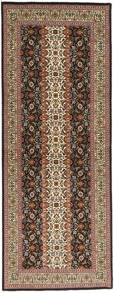 Tabriz 50 Raj Matta 80X214 Äkta Orientalisk Handknuten Hallmatta Ljusbrun/Mörkbrun (Ull/Silke, Persien/Iran)