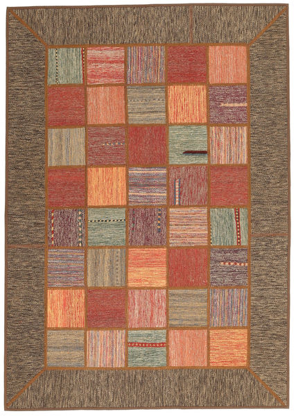 Kilim Patchwork Rug 139X199 Authentic  Modern Handwoven Brown/Light Brown (Wool, Persia/Iran)