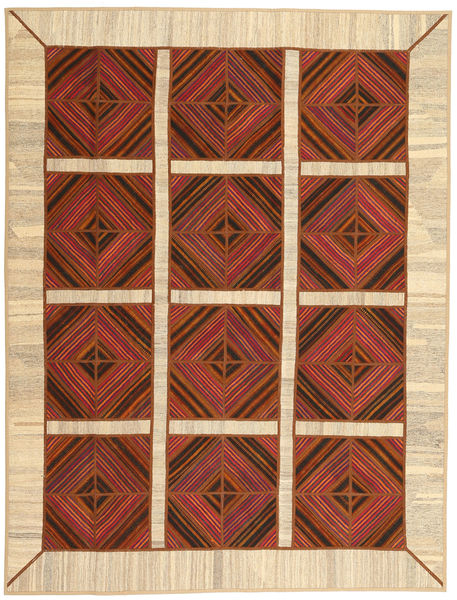 Kelim Patchwork Matto 191X252 Moderni Käsinkudottu Tummanbeige/Tummanpunainen (Villa, Persia/Iran)