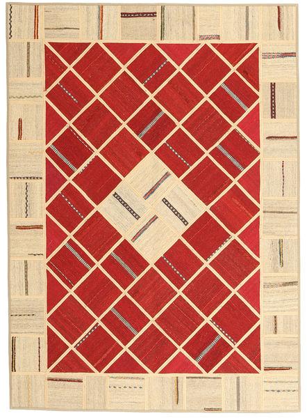 Kelim Patchwork Teppich  151X210 Echter Moderner Handgewebter Rost/Rot/Dunkel Beige (Wolle, Persien/Iran)