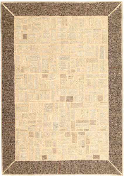 Kilim Patchwork Rug 169X239 Authentic  Modern Handwoven Beige/Brown (Wool, Persia/Iran)