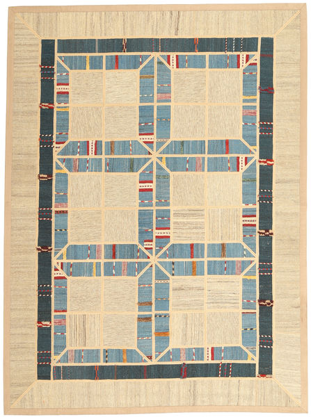 Kilim Patchwork Rug 177X238 Authentic  Modern Handwoven Beige/Light Blue (Wool, Persia/Iran)