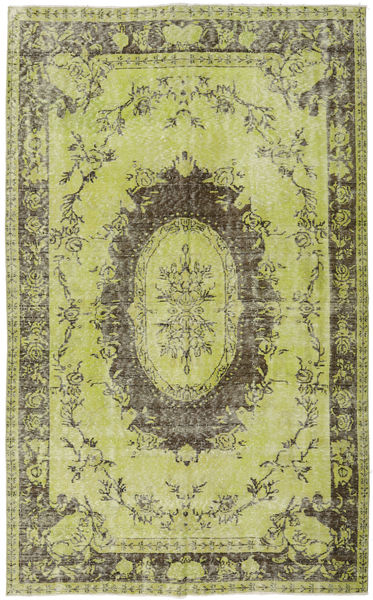 Colored Vintage Rug 169X275 Authentic  Modern Handknotted Light Green/Olive Green (Wool, Turkey)