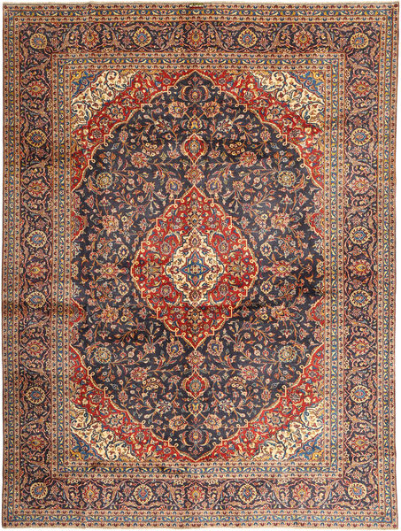 Keshan Rug 297X395 Authentic  Oriental Handknotted Dark Red/Dark Blue Large (Wool, Persia/Iran)