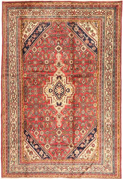 Hamadan Matta 200X295 Äkta Orientalisk Handknuten Brun/Ljusbrun (Ull, Persien/Iran)