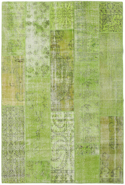 Patchwork Rug 201X302 Authentic  Modern Handknotted Light Green/Olive Green (Wool, Turkey)