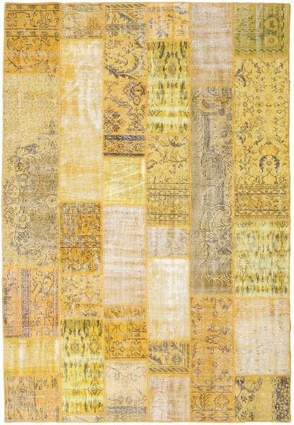 Patchwork Matto 204X300 Moderni Käsinsolmittu Tummanbeige/Beige (Villa, Turkki)