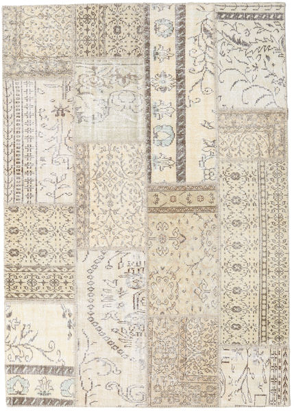 Patchwork Matto 229X261 Moderni Käsinsolmittu Beige/Vaaleanruskea/Vaaleanharmaa (Villa, Turkki)