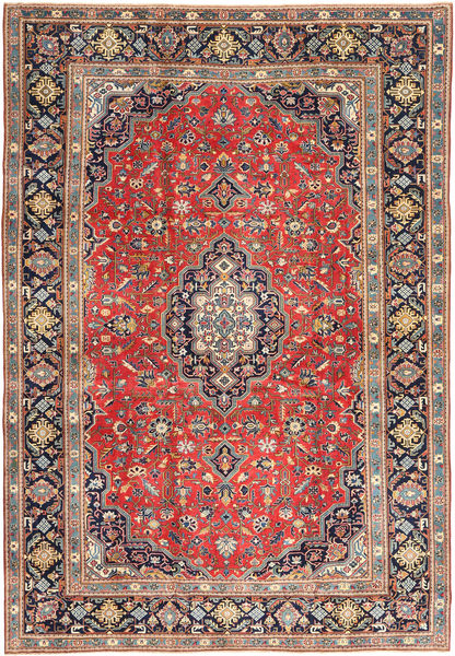 Tabriz Patina Matto 255X370 Itämainen Käsinsolmittu Vaaleanruskea/Tummanvioletti Isot (Villa, Persia/Iran)