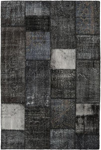 Patchwork Rug 160X237 Authentic  Modern Handknotted Dark Grey/Black (Wool, Turkey)