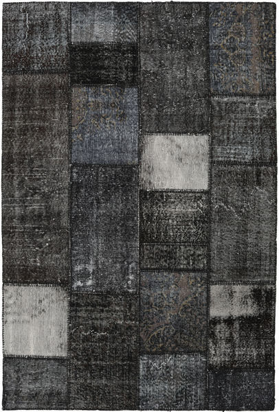 Patchwork Alfombra 160X237 Moderna Hecha A Mano Negro/Gris Oscuro (Lana, Turquía)