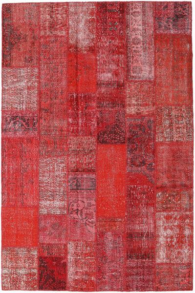 Patchwork Matto 202X306 Moderni Käsinsolmittu Punainen/Tummanpunainen (Villa, Turkki)