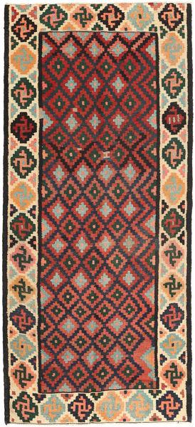 Kilim Fars Alfombra 140X307 Oriental Tejida A Mano Negro/Gris Oscuro (Lana, Persia/Irán)