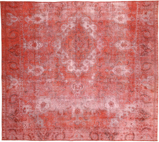 Colored Vintage Rug 250X283 Authentic  Modern Handknotted Rust Red/Dark Beige Large (Wool, Persia/Iran)