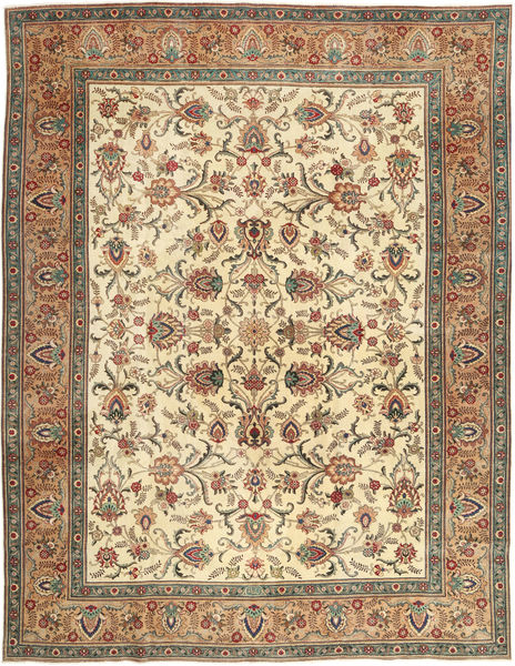 Tabriz Patina Rug 302X390 Authentic  Oriental Handknotted Light Brown/Beige Large (Wool, Persia/Iran)