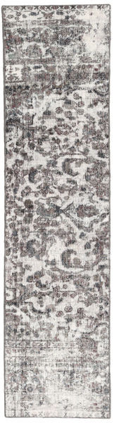 Colored Vintage Rug 70X288 Authentic  Modern Handknotted Hallway Runner  Light Grey/Dark Grey (Wool, Persia/Iran)