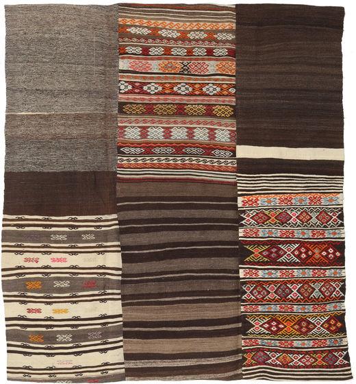 Kelim Patchwork Matto 204X227 Moderni Käsinkudottu Vaaleanruskea/Tummanpunainen (Villa, Turkki)