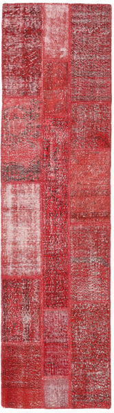 Patchwork Rug 80X303 Authentic  Modern Handknotted Hallway Runner  Crimson Red/Pink (Wool, Turkey)
