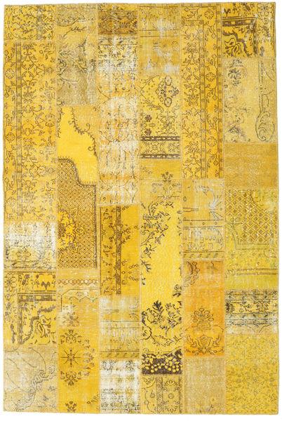 Patchwork Matto 201X302 Moderni Käsinsolmittu Keltainen (Villa, Turkki)