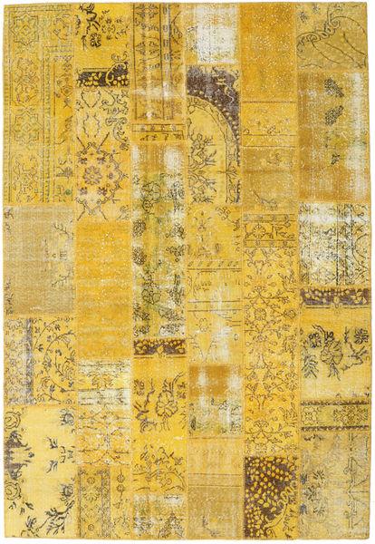 Patchwork Matto 203X299 Moderni Käsinsolmittu Keltainen (Villa, Turkki)