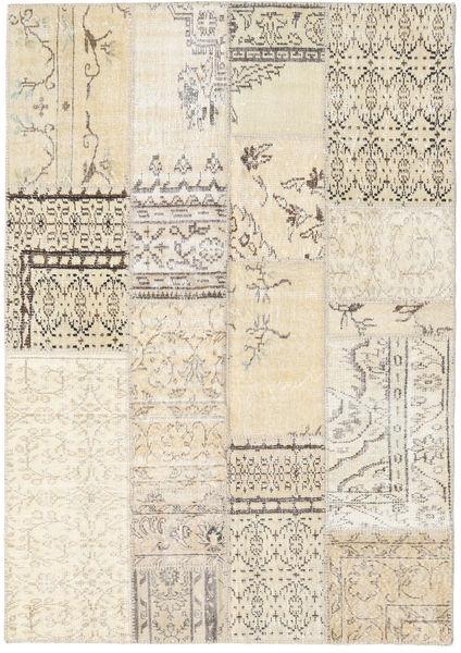 Patchwork Rug 141X200 Authentic  Modern Handknotted Beige/Light Grey (Wool, Turkey)