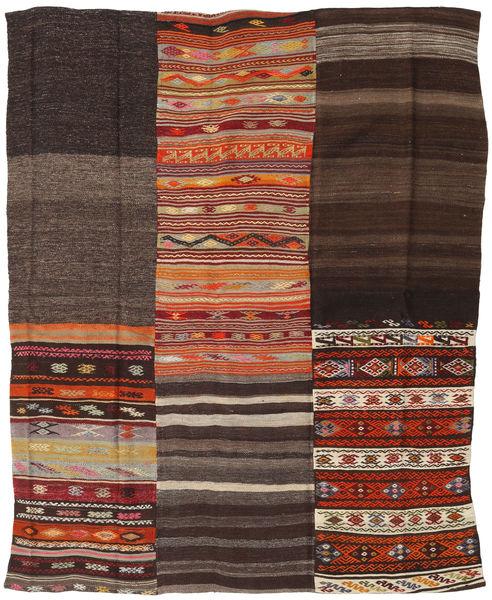 Kelim Patchwork Matto 195X237 Moderni Käsinkudottu Tummanpunainen/Tummanruskea/Vaaleanruskea (Villa, Turkki)