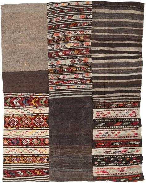Kilim Patchwork Rug 198X260 Authentic  Modern Handwoven Dark Brown/Light Brown (Wool, Turkey)