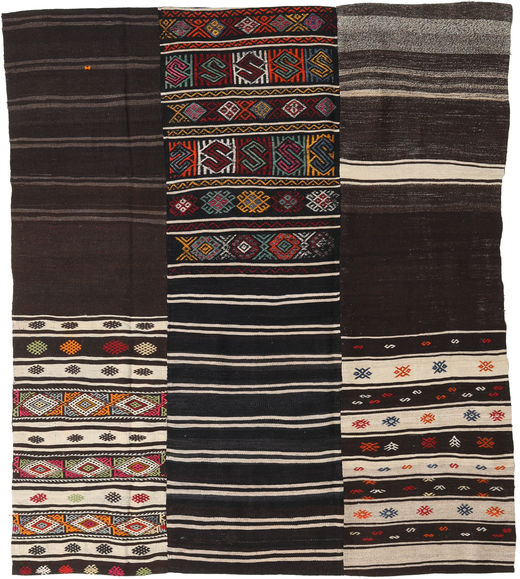 Kilim Patchwork Rug 198X230 Authentic  Modern Handwoven Dark Brown/Light Grey (Wool, Turkey)
