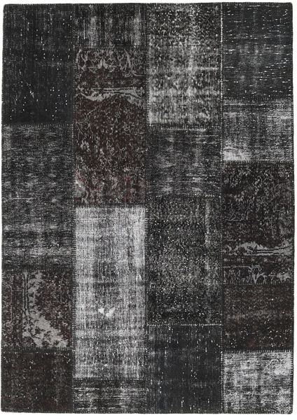 Patchwork Alfombra 161X227 Moderna Hecha A Mano Negro/Gris Oscuro (Lana, Turquía)