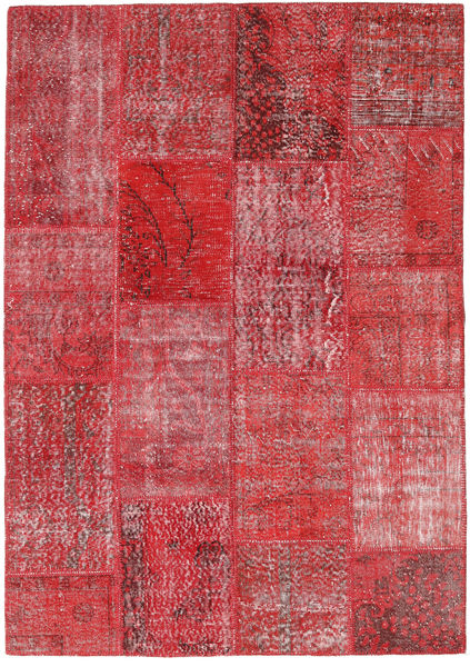 Patchwork Rug 163X232 Authentic  Modern Handknotted Rust Red/Pink (Wool, Turkey)