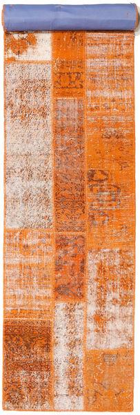 Patchwork Matto 81X395 Moderni Käsinsolmittu Käytävämatto Oranssi/Vaaleanruskea (Villa, Turkki)