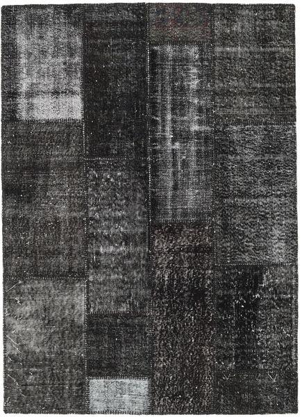 Patchwork Rug 120X185 Authentic  Modern Handknotted Dark Grey/Black (Wool, Turkey)