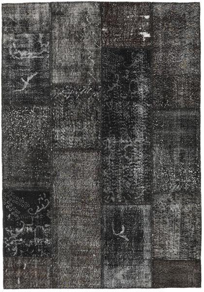 Patchwork Matto 161X232 Moderni Käsinsolmittu Tummanharmaa/Musta (Villa, Turkki)