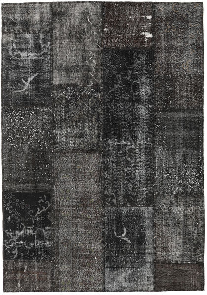Patchwork Alfombra 161X232 Moderna Hecha A Mano Gris Oscuro/Negro (Lana, Turquía)