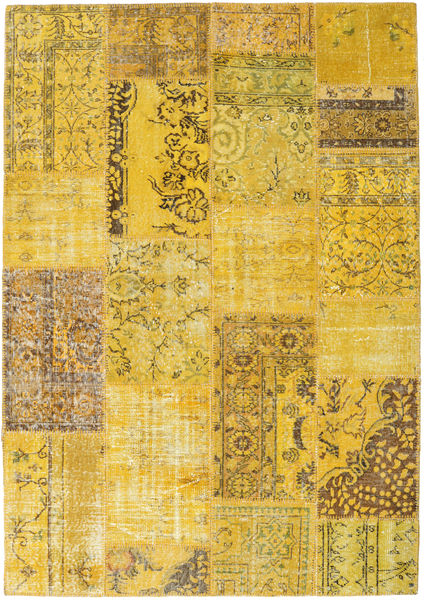 Patchwork Rug 162X232 Authentic  Modern Handknotted Yellow/Brown (Wool, Turkey)