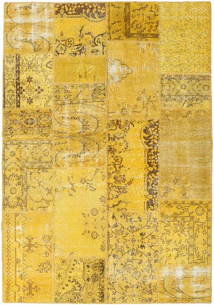 Patchwork Matto 162X233 Moderni Käsinsolmittu Keltainen (Villa, Turkki)
