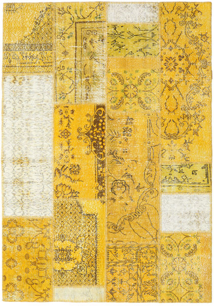 Patchwork Matto 161X230 Moderni Käsinsolmittu Keltainen/Beige (Villa, Turkki)