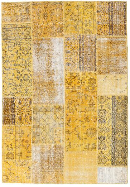 Patchwork Matto 158X230 Moderni Käsinsolmittu Tummanbeige/Vaaleanruskea (Villa, Turkki)