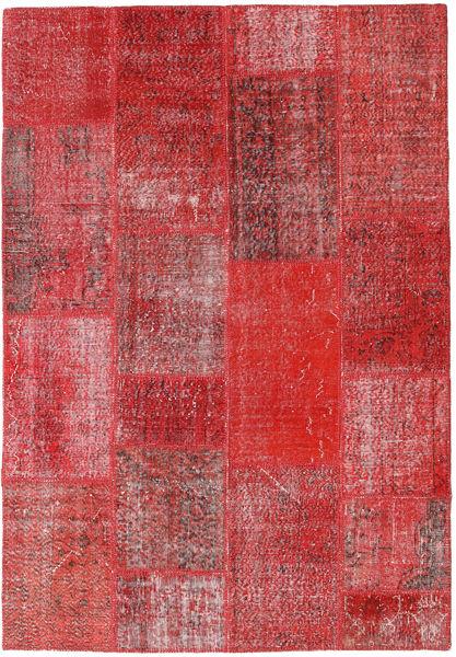Patchwork Matto 161X234 Moderni Käsinsolmittu Tummanpunainen/Ruoste (Villa, Turkki)