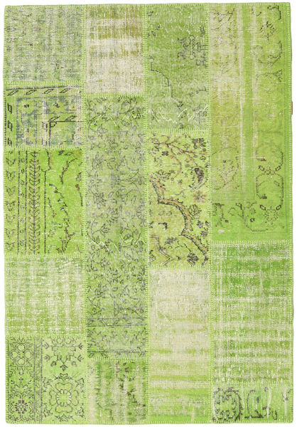 Patchwork Rug 142X206 Authentic  Modern Handknotted Light Green/Olive Green (Wool, Turkey)