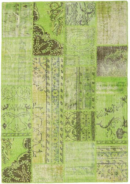 Patchwork Vloerkleed 161X231 Echt Modern Handgeknoopt Lichtgroen/Olijfgroen (Wol, Turkije)
